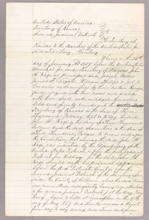 Kansas Territory versus John H. Kagl, Josiah Miller, James T. Legate, William Phillips, Joel K. Goodwin for forfeited recognizance - Page