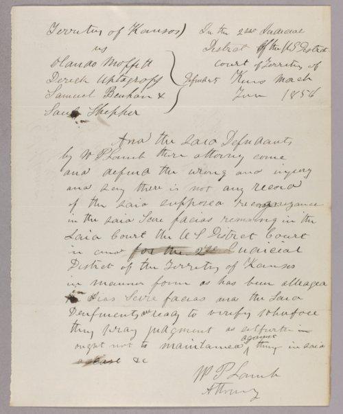 Kansas Territory versus John H. Kagl, Orlando Muffit, Derrick Updegraff, Samuel Bonhem, Paul Shepherd for forfeited recognizance - Page