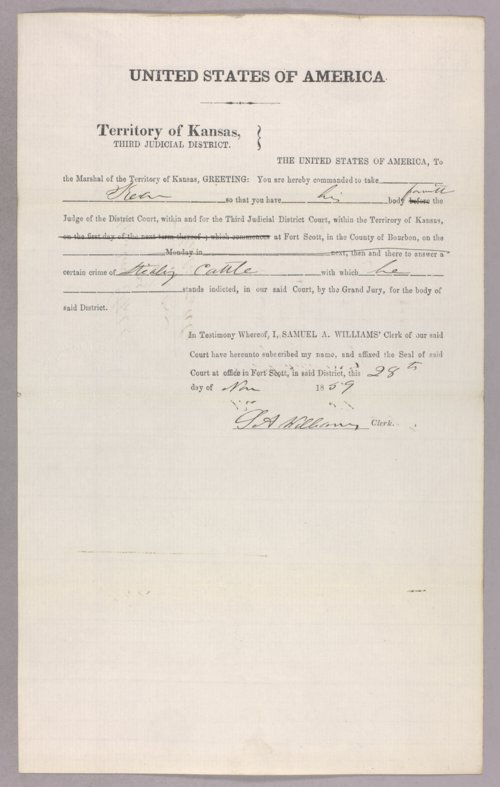 United States versus Kean for stealing cattle - Page