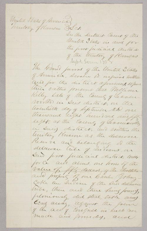 Kansas Territory versus William Kelley for larceny - Page