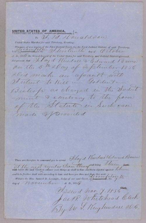 Kansas Territory versus Floyd Kendall, Edward Bowen for assault with intent to kill - Page