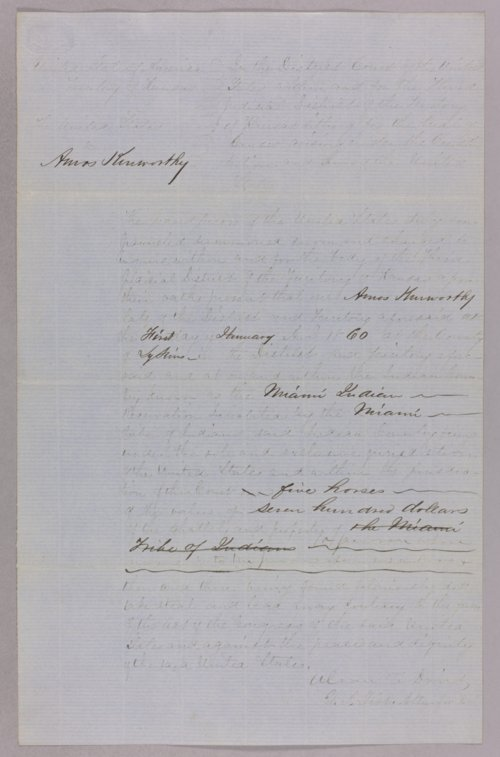 United States versus Amos Kenworthy for horse stealing - Page