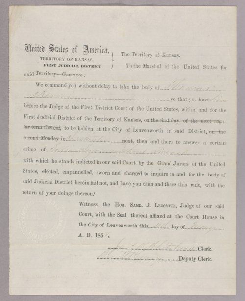Kansas Territory versus Thomas Kerwin for selling liquor without a license - Page