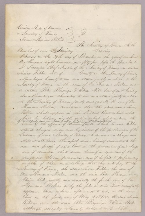 Kansas Territory versus Lucius Kibbee, Peter Baysinger, Elizar Hill for forfeited recognizance - Page