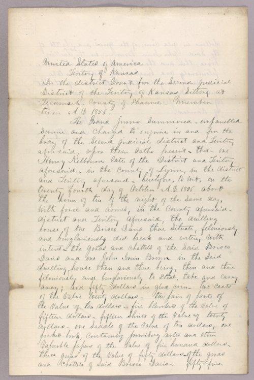 Kansas Territory versus Henry Kilbourn for burglary & larceny - Page
