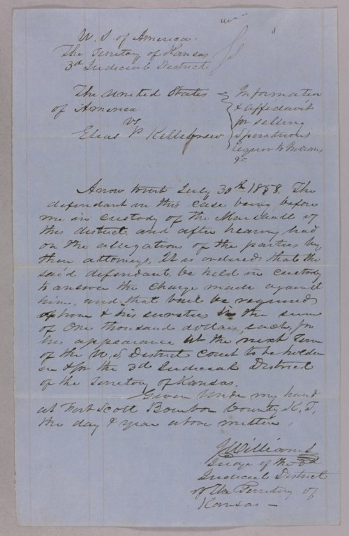 United States versus Elias P. Killebrew for selling liquor to Indians - Page