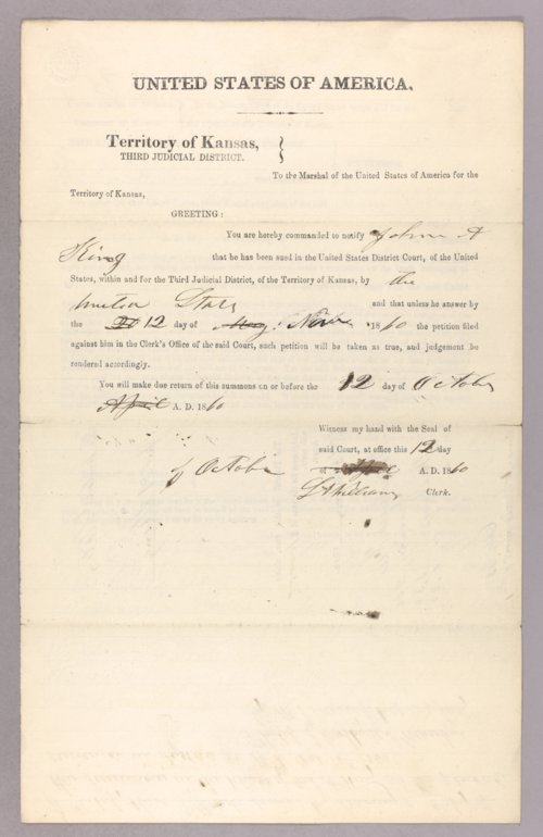 United States versus John A. King for settling on Indian land - Page