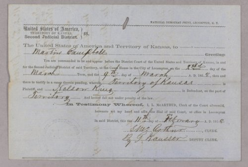 Kansas Territory versus Nelson King for selling liquor to Indians - Page