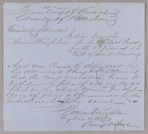Kansas Territory versus Amon Knighton for murder - Page
