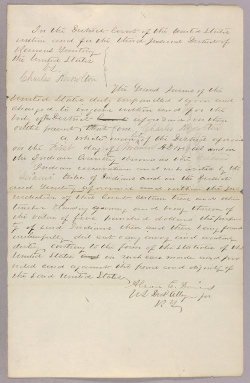 United States versus Charles Knowlton for taking Indian property - Page