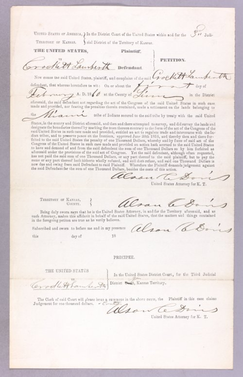 United States versus Crockett Lamberth for settling on Indian land - Page