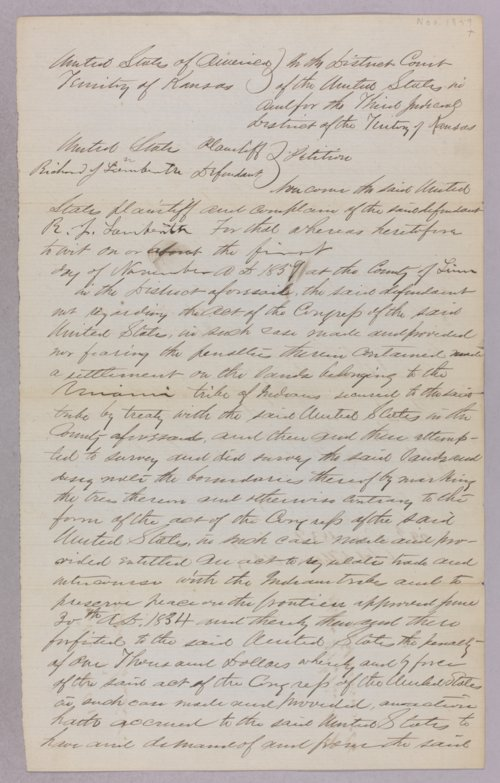 United States versus Richard J. Lamberth for settling on Indian land - Page