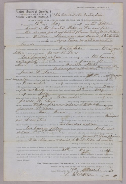United States versus James Lane, Wilson Shannon, David S. McIntosh for forfeited recognizance - Page