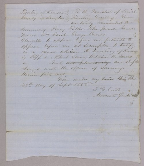 Kansas Territory versus Albert Laws, W. B. Sours for stealing cattle - Page