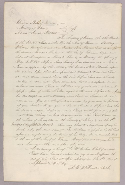 Kansas Territory versus Alfred Laws for contempt - Page
