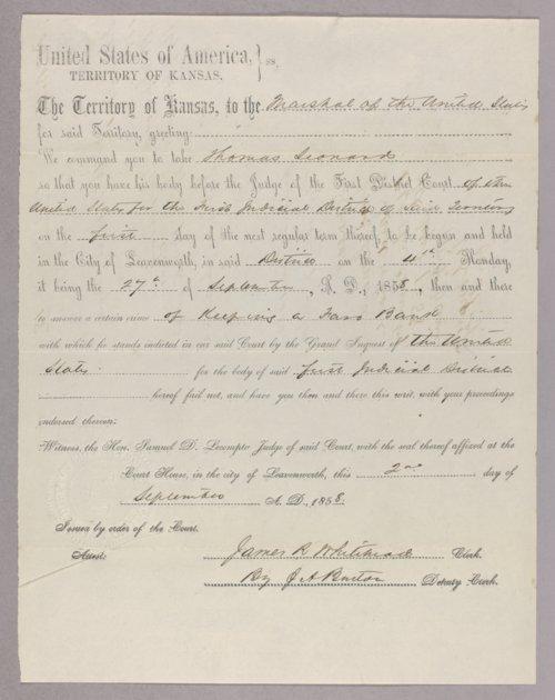 Kansas Territory versus Thomas Leonard for gambling - Page