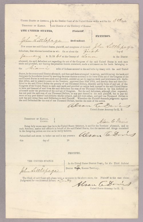 United States versus John D. Littlepage for settling on Indian land. - Page