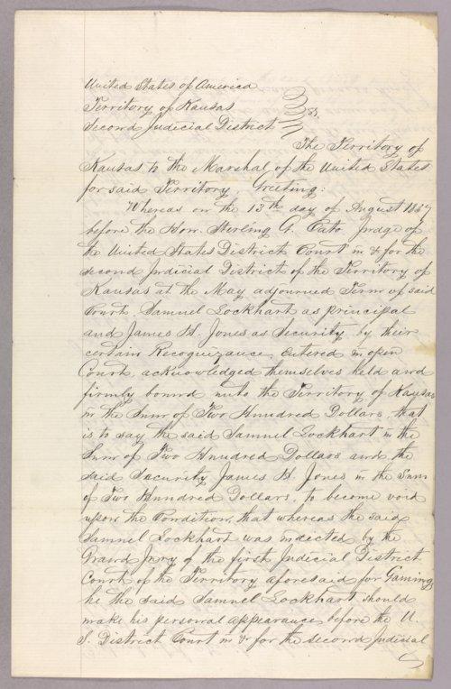 Kansas Territory versus Samuel Lockhart, James H. Jones for forfeited recognizance - Page