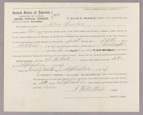 Kansas Territory versus Allen Lovelace for contempt - Page
