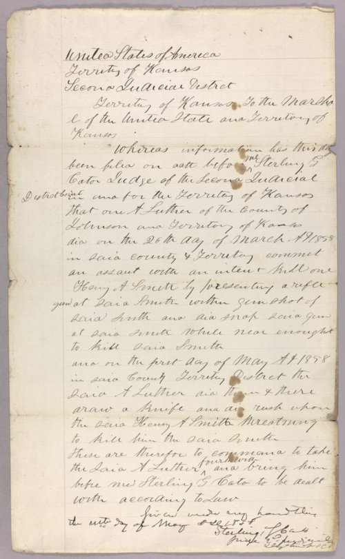 Kansas Territory versus A. Luther for assault with intent to kill - Page
