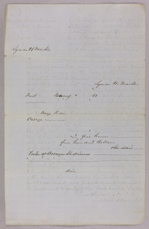 United States versus Lyman H. Marble for stealing Indian horses - Page