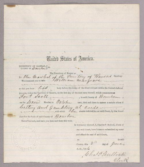 Kansas Territory versus William Margrave for gambling - Page