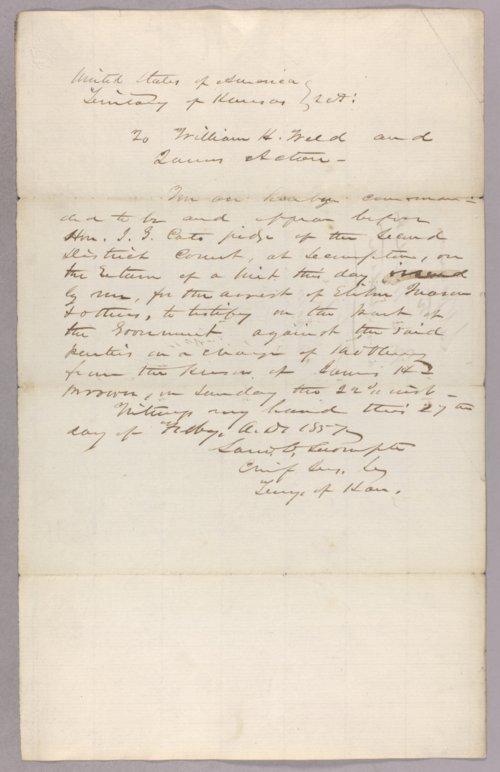 Kansas Territory versus Elihu Mason for robbery - Page