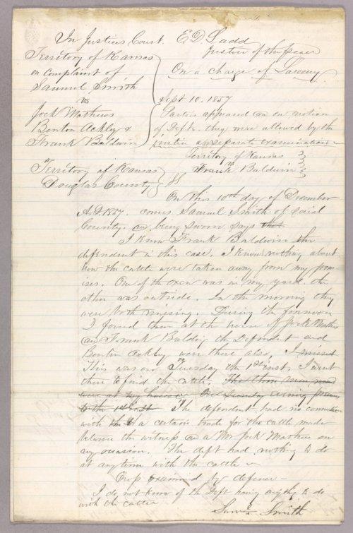 Kansas Territory versus Jock Matthews, Benton Ackley, Frank Baldwin for stealing - Page