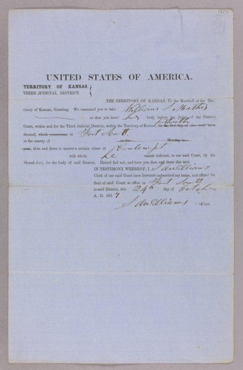 Kansas Territory versus William S. Mathis for contempt - Page