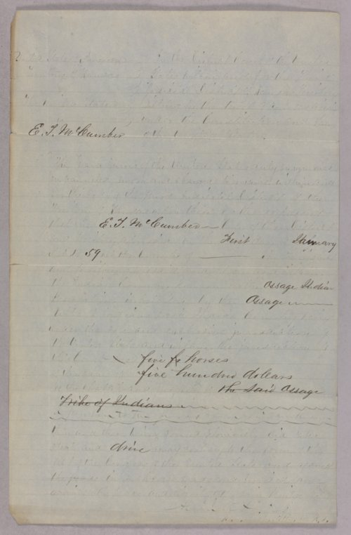 United States versus E. T. McCumber for stealing horses - Page
