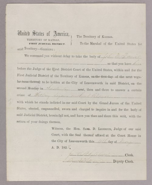 Kansas Territory versus John McDaniel for selling liquor without a license - Page