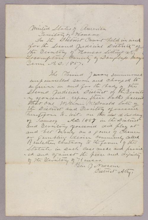 Kansas Territory versus William McDonald for gambling - Page