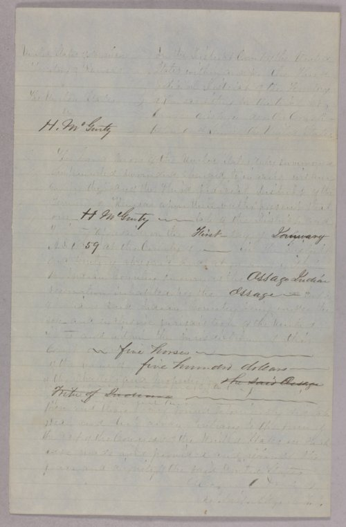 United States versus H. McGinty for larceny (stealing five horses) - Page