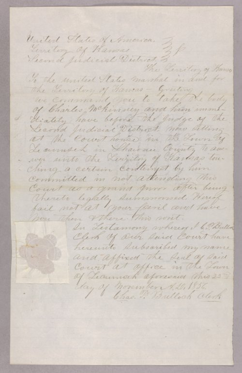 Kansas Territory versus Charles McKinney for contempt - Page