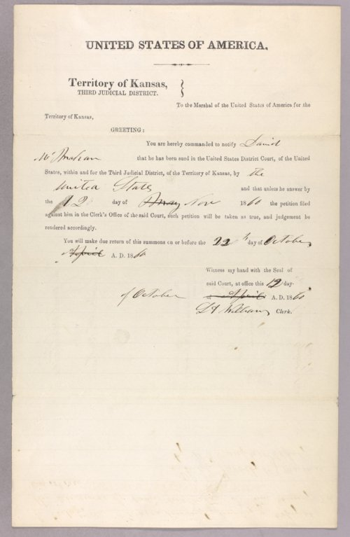 United States versus David McMahon for settling on Indian land - Page