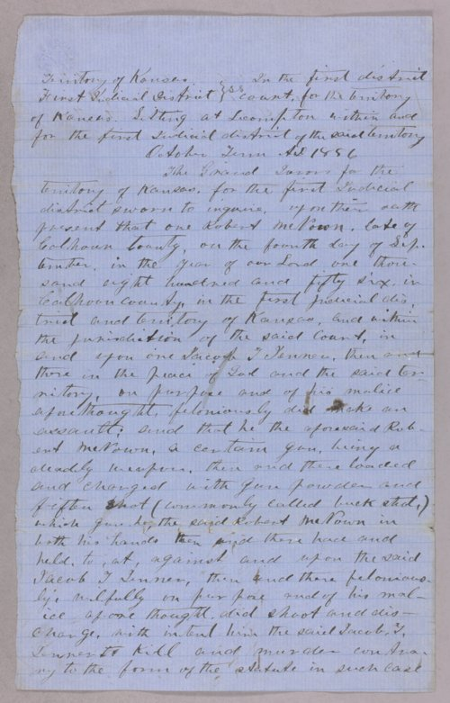 Kansas Territory versus Robert McKnown for assault with intent to kill - Page