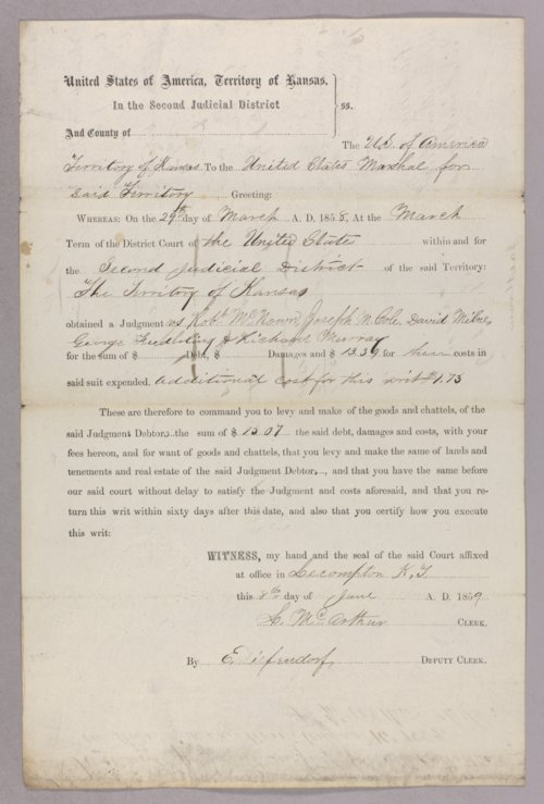 Kansas Territory versus Robert McKnown, Joseph McCole, David Milne, Charles Fiddling, Richard Murphy for forfeited recognizance - Page