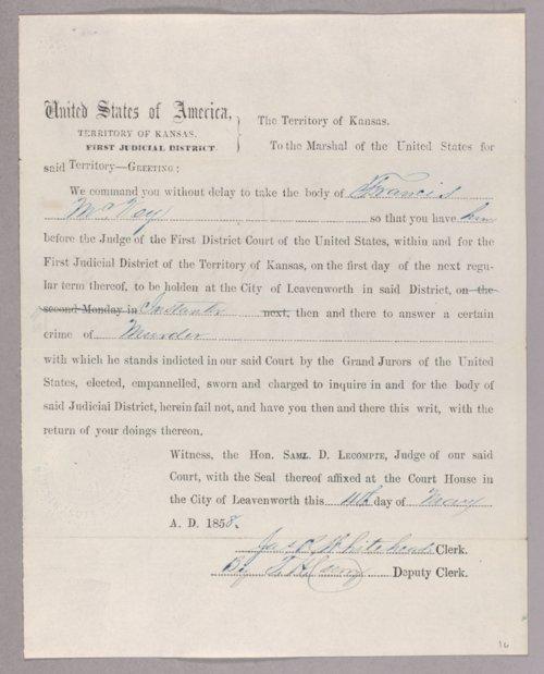 Kansas Territory versus Francis McVey for murder - Page