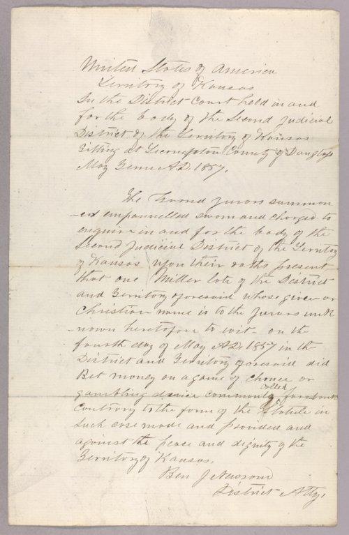 Kansas Territory versus Miller for gambling - Page