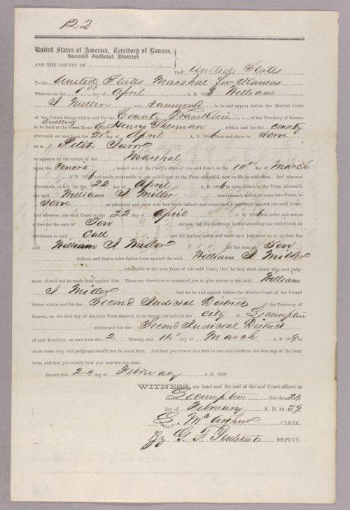 United States versus William J. Miller for contempt - Page