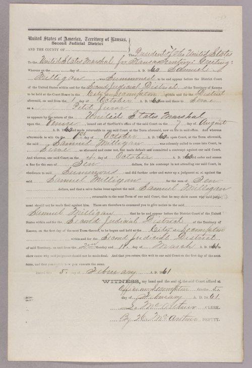 Kansas Territory versus Samuel Milligan for contempt - Page