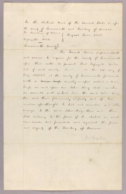 Kansas Territory versus Lafayette Mills for assault with intent to kill - Page