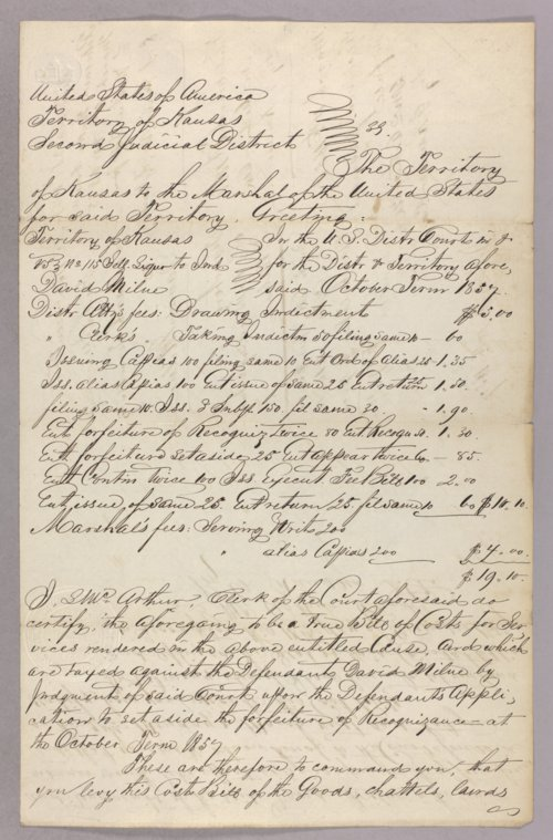 Kansas Territory versus David Milne for selling liquor without a license - Page