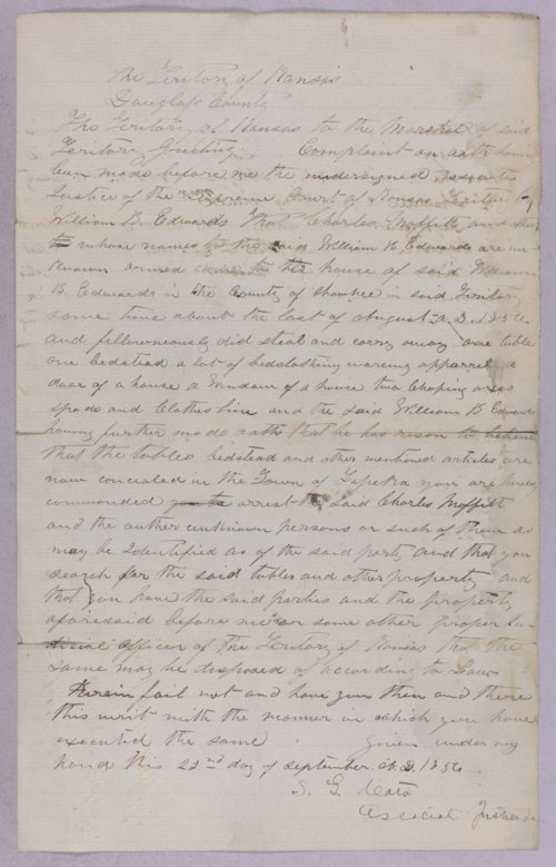 Kansas Territory versus Charles Moffit for robbery - Page