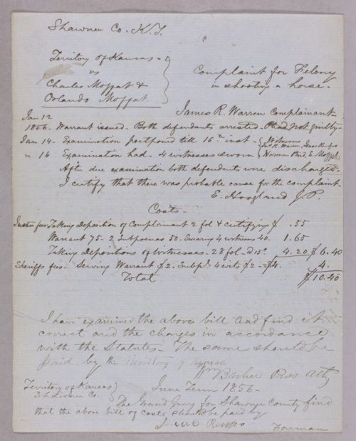 Kansas Territory versus Charles Moffet, Orlando Moffet for felony (shooting a horse) - Page