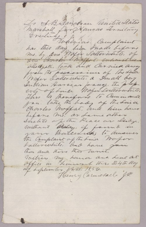 Kansas Territory versus Charles Moffet for robbery - Page