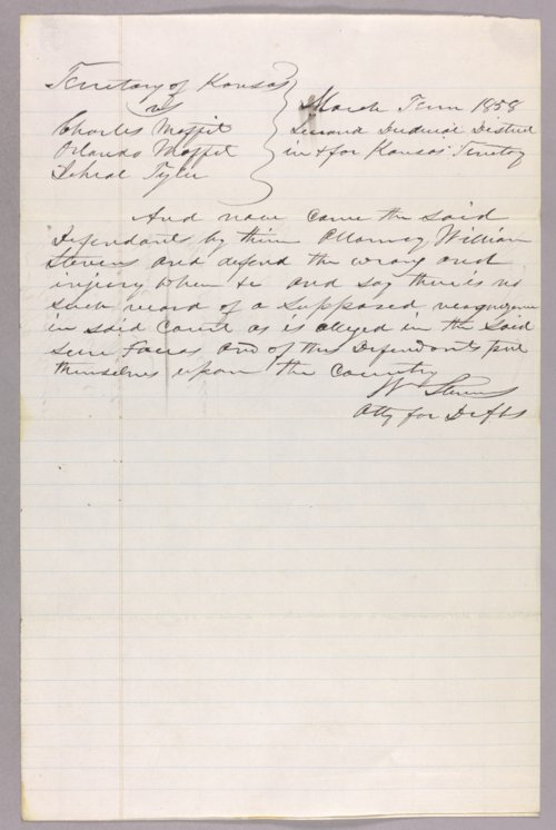 Kansas Territory versus Charles Moffet, Orlando Moffet, Jehial Tyler for forfeited recognizance - Page