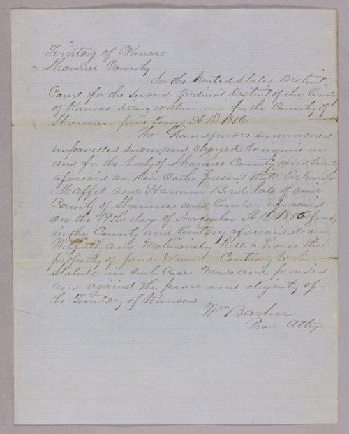 Kansas Territory versus Orlando Moffet, Harmon Bird for killing a horse - Page