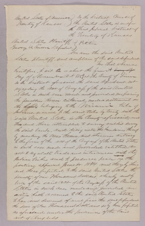 United States versus George W. Moore for settling on Indian land - Page