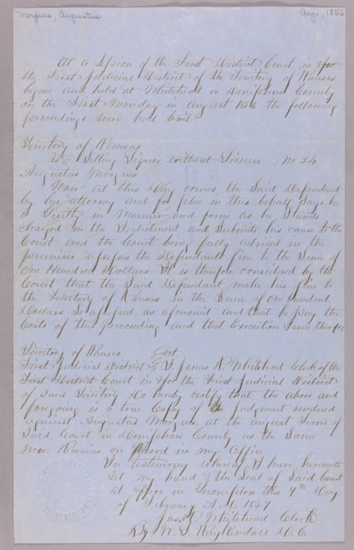Kansas Territory versus Augustus Morgues for selling liquor without a license - Page